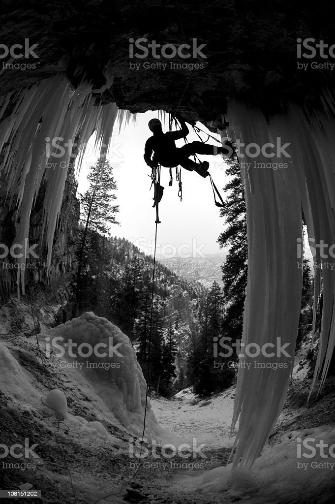 Man Ice Climbing Pirate's Cove in Colorado, Black and White royalty-free stock photo