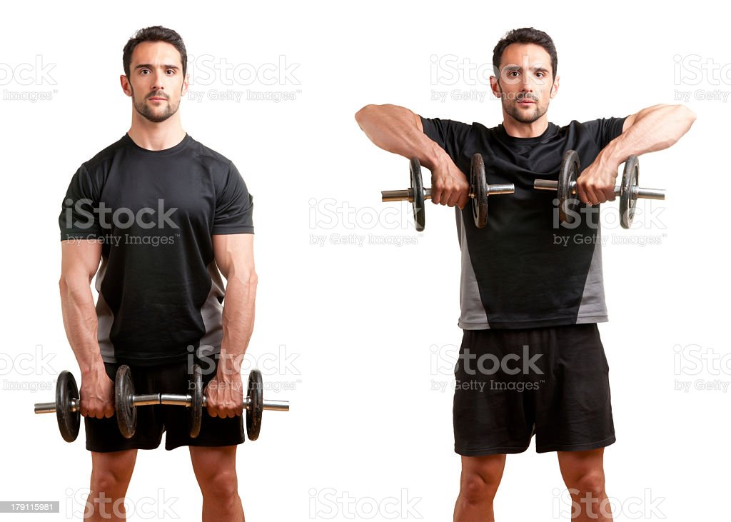 Man illustrating how to do a dumbbell upright row exercise stock photo