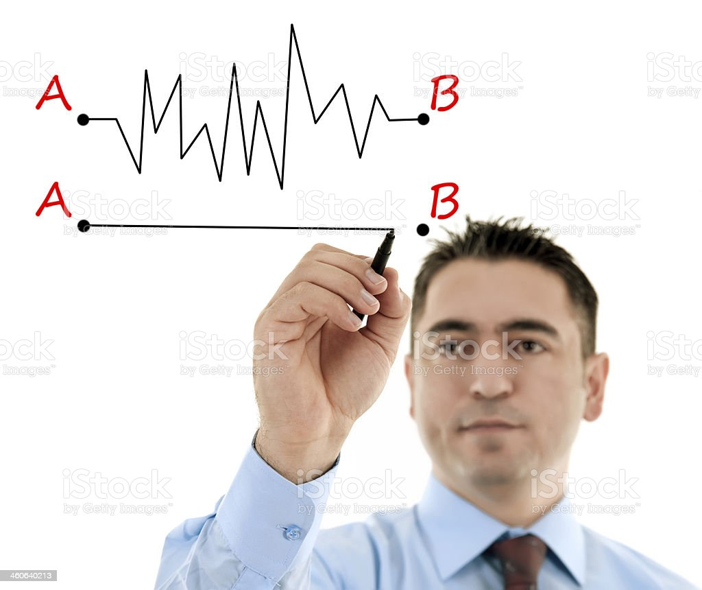 Man illustrating two different lines from point A to point B stock photo