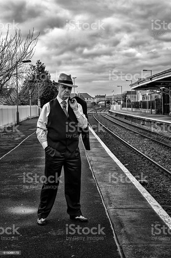 Man in 1930's clothing stock photo