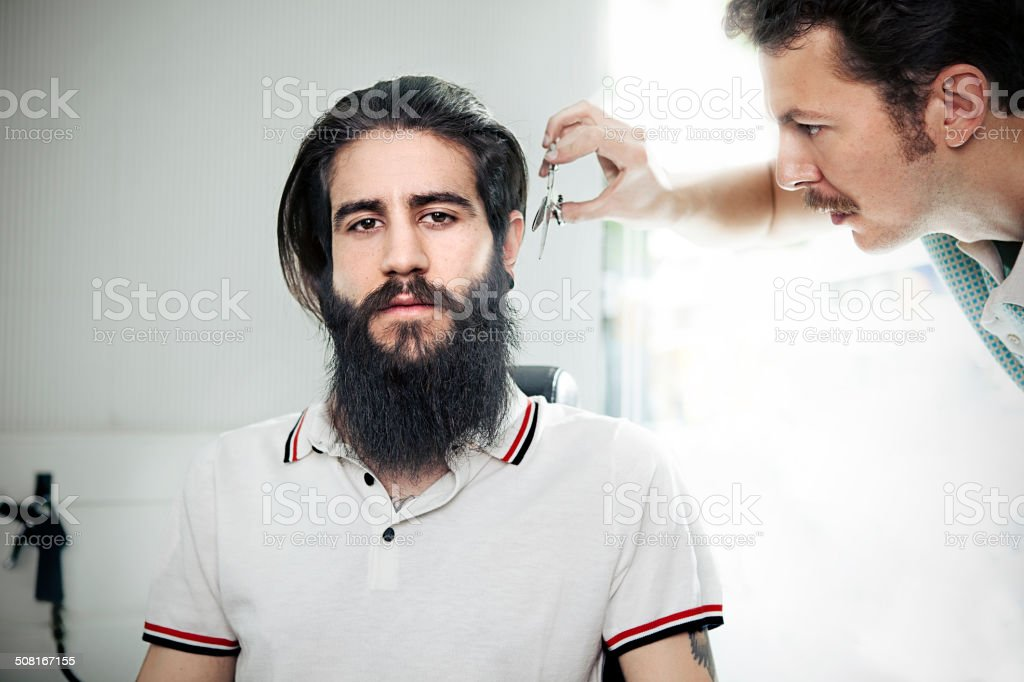 Man in a barber shop stock photo