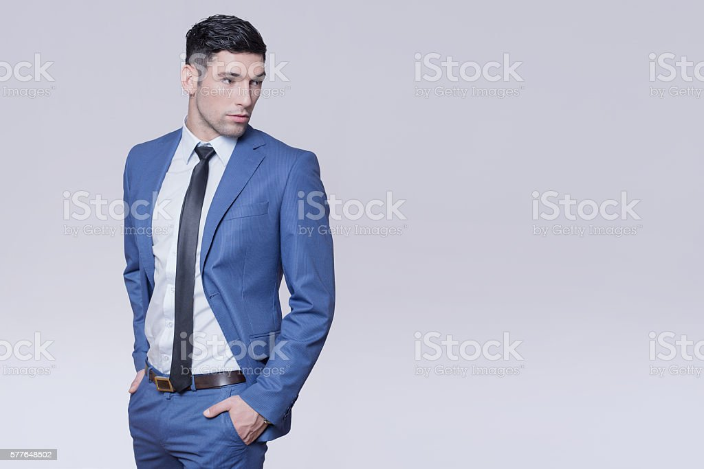 Man in a blue suit stock photo