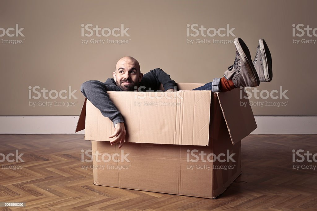 Man in a Box stock photo