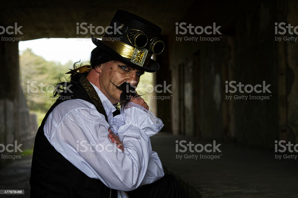 Man in a bunker in a costume stock photo