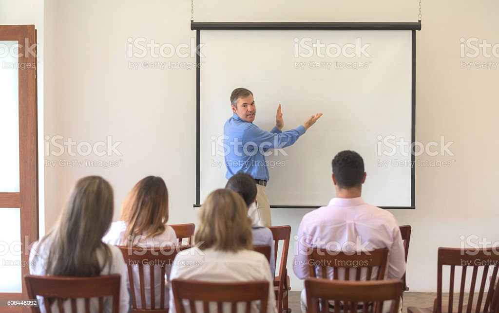 Man in a business meeting stock photo