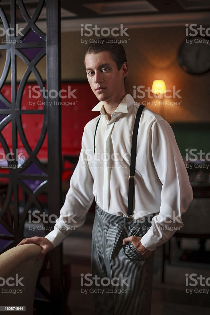 man in a classic room stock photo