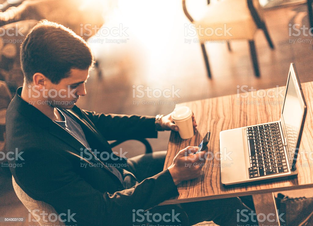 Man in a coffee shop stock photo