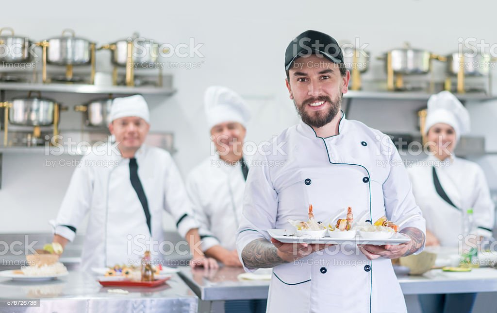 Man in a cooking class stock photo