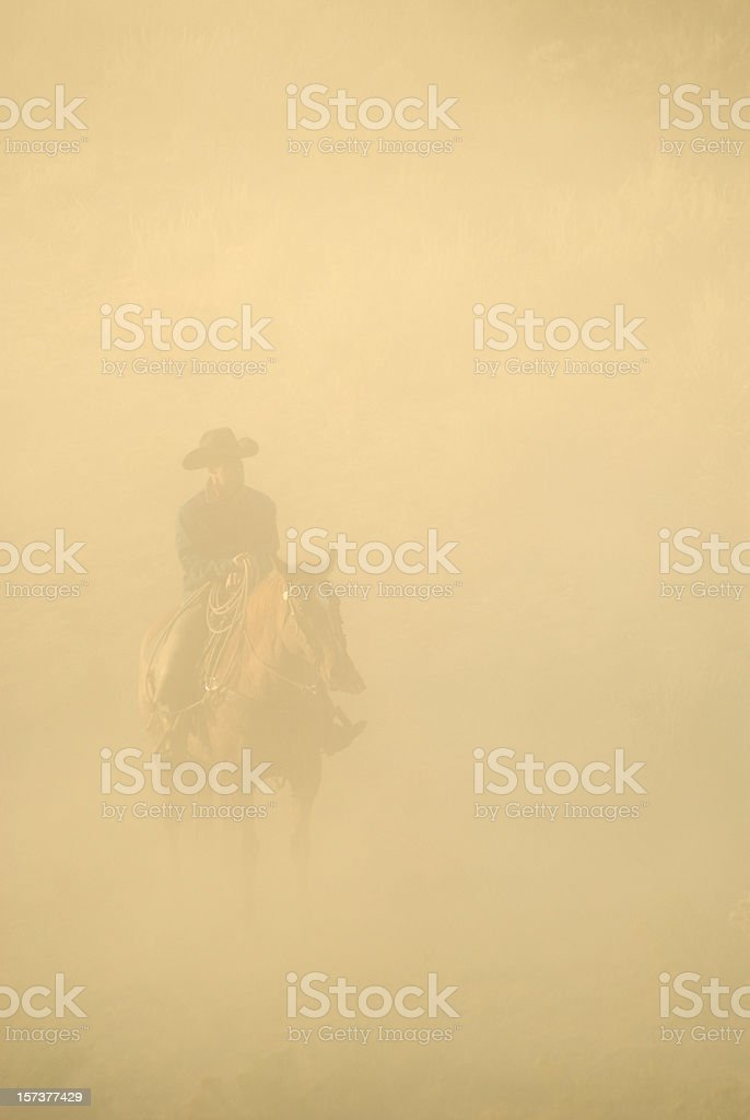 A man in a cowboy hat riding his horse in a blurry setting stock photo
