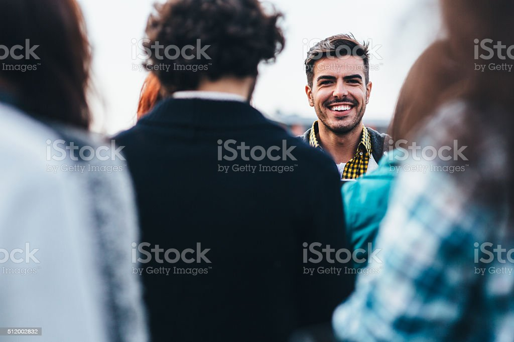 Man In A Crowd stock photo
