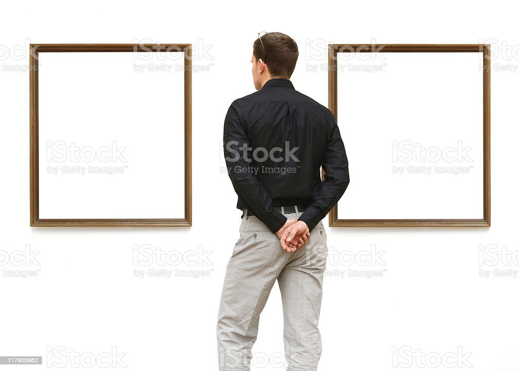 man in a gallery (clipping path) royalty-free stock photo