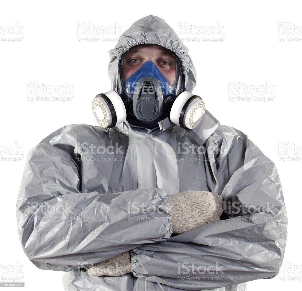 Man in a grey pest control outfit stock photo