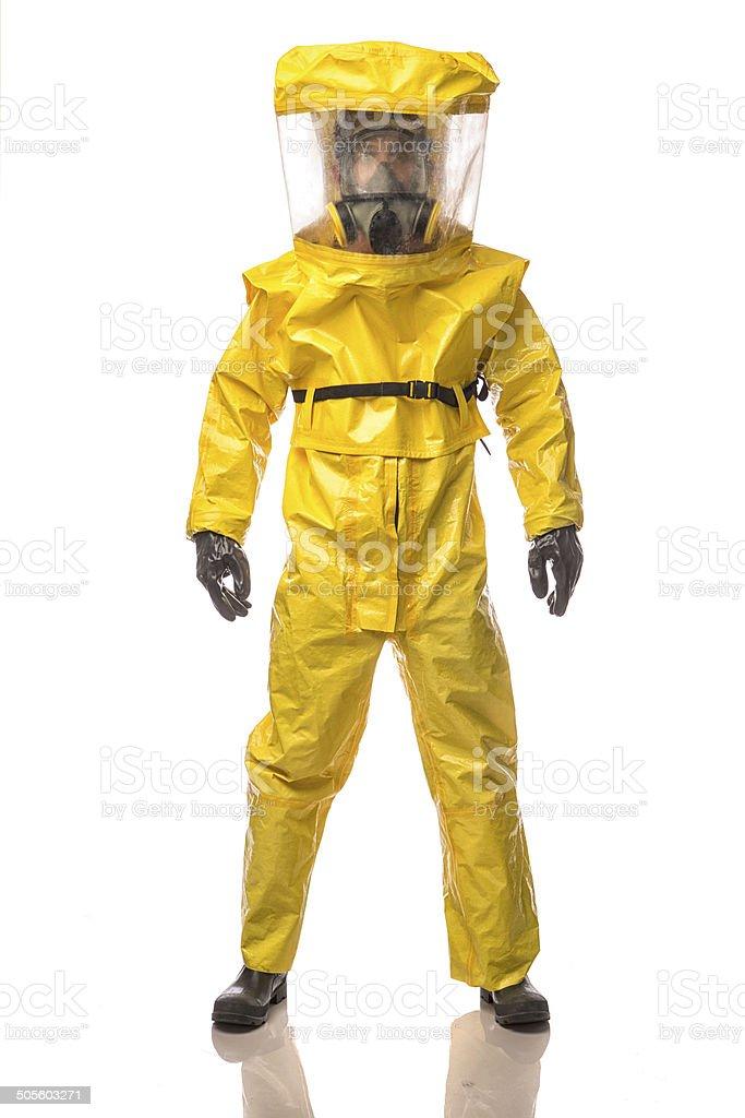 Man in a hazmat Suit stock photo