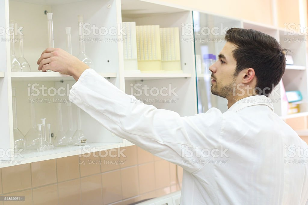 Man in a laboratory stock photo
