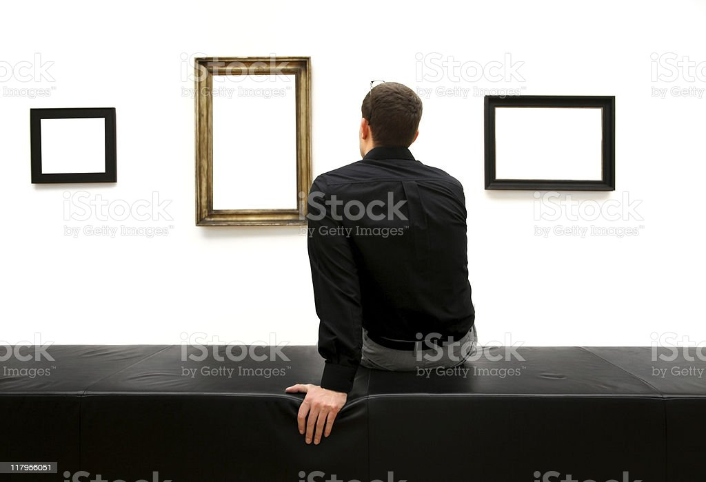 man in a museum (clipping path) royalty-free stock photo