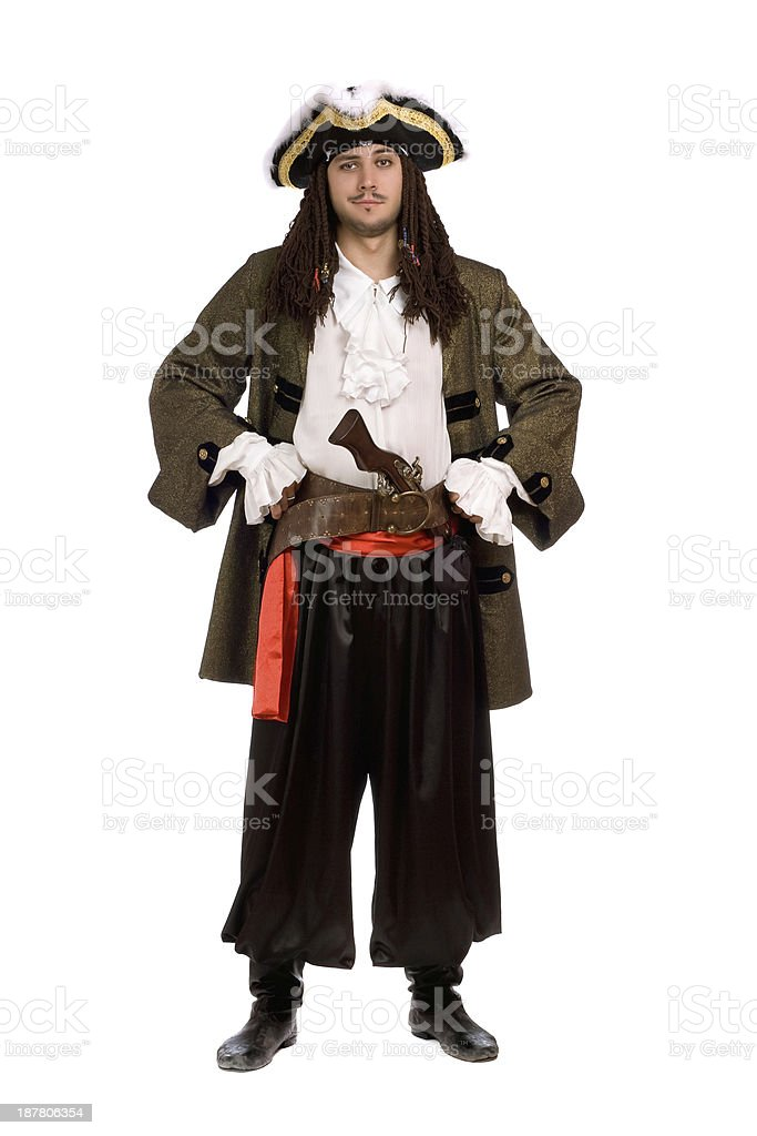 man in a pirate costume with pistol. Isolated stock photo