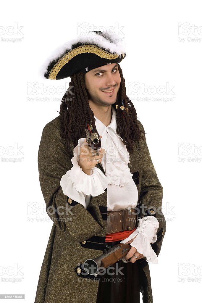 man in a pirate costume with pistols royalty-free stock photo