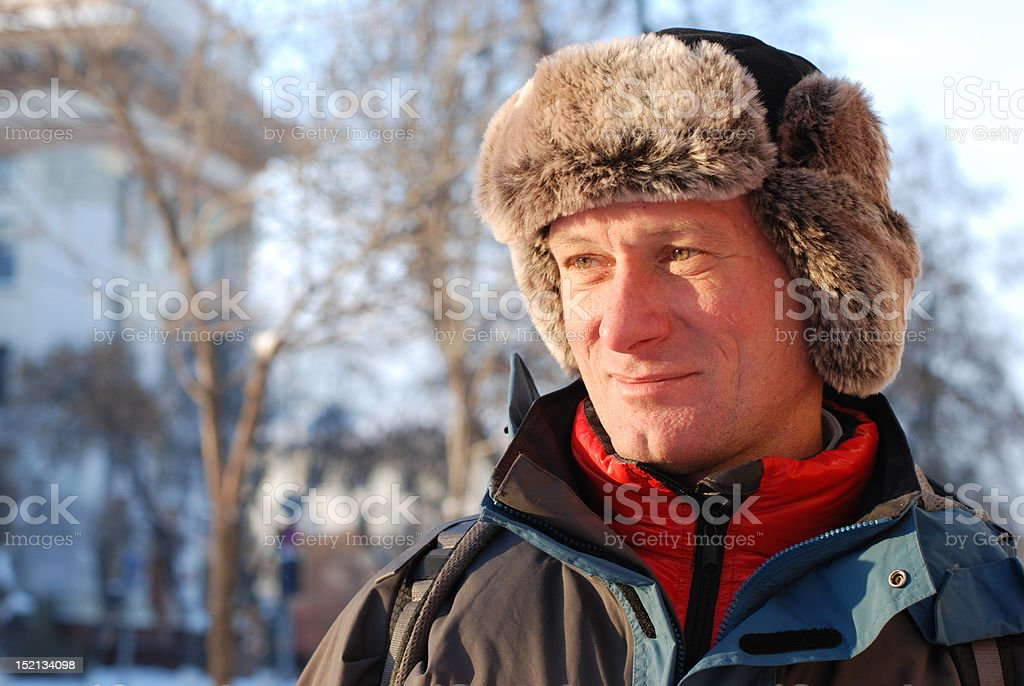 Man in a Russian hat royalty-free stock photo