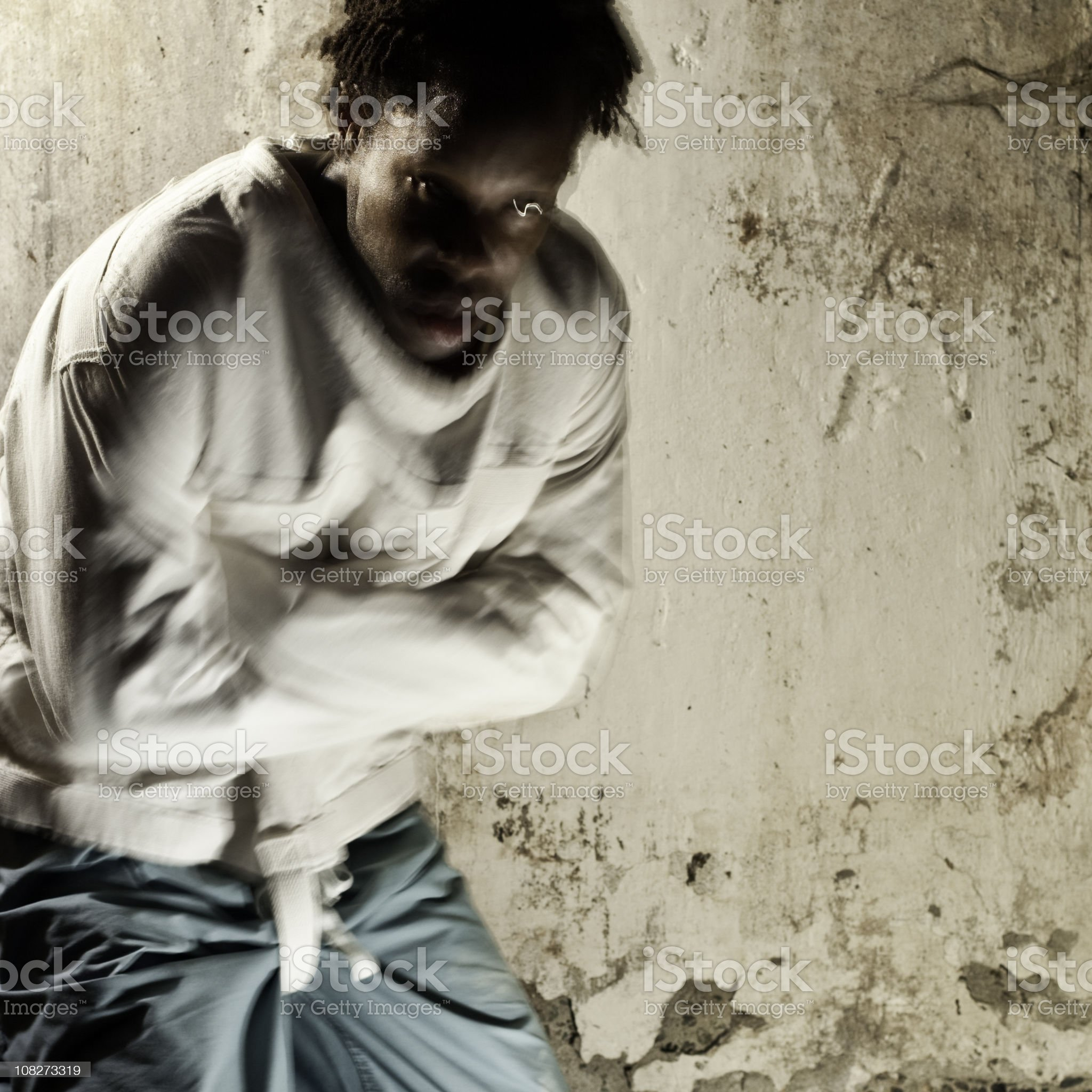 Man in a Straitjacket royalty-free stock photo