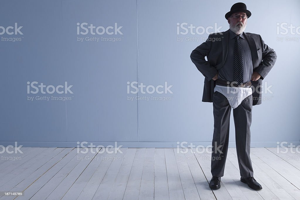 Man In A Suit Wearing Underpants As Overpants royalty-free stock photo