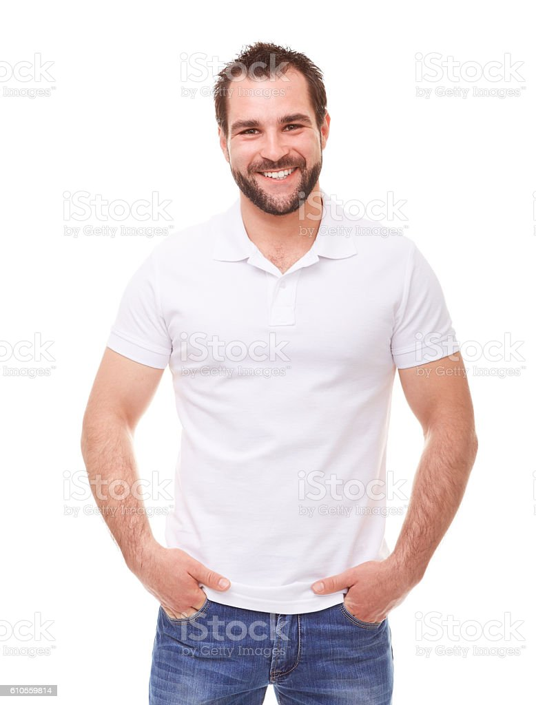 Man in a white polo shirt stock photo