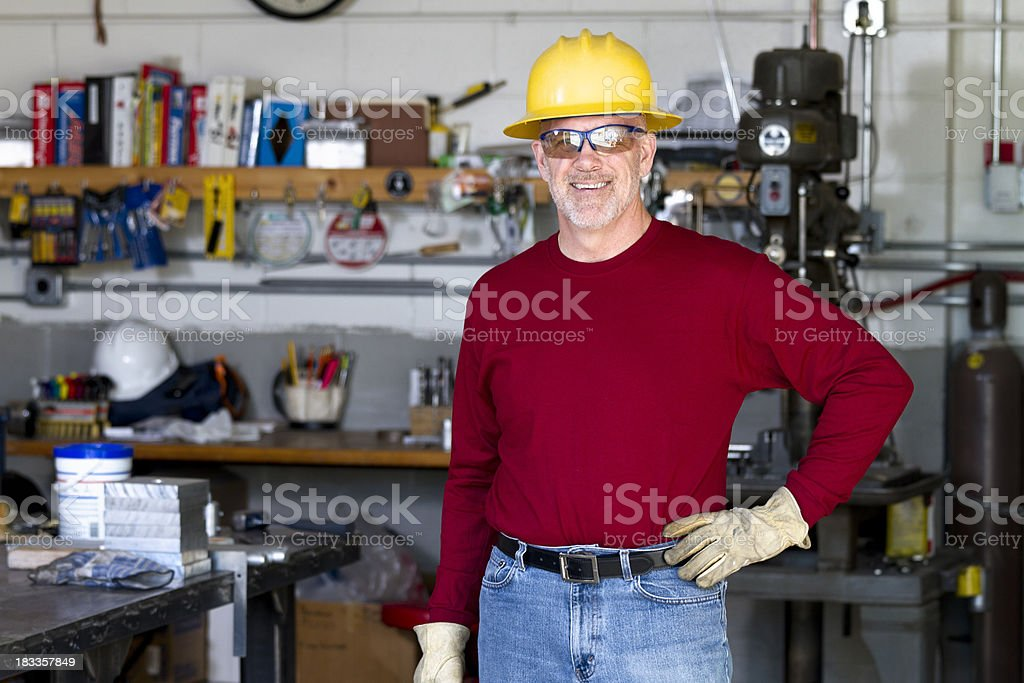 Man in a Workshop stock photo