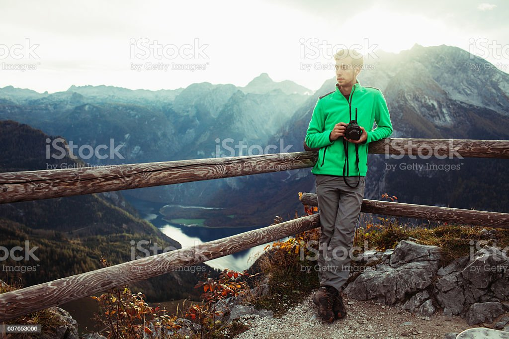 Man in Alps stock photo