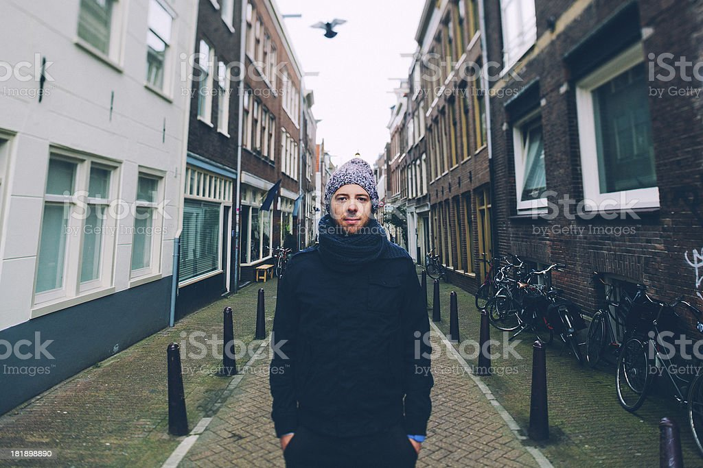 Man in Amsterdam stock photo