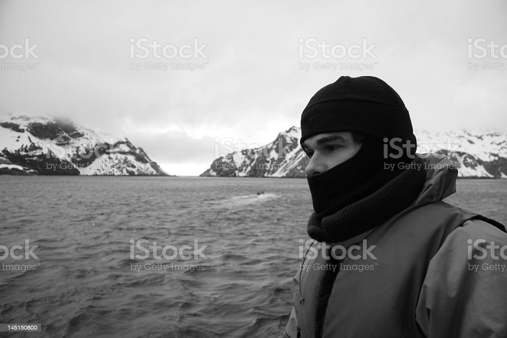 Man in Antarctica stock photo