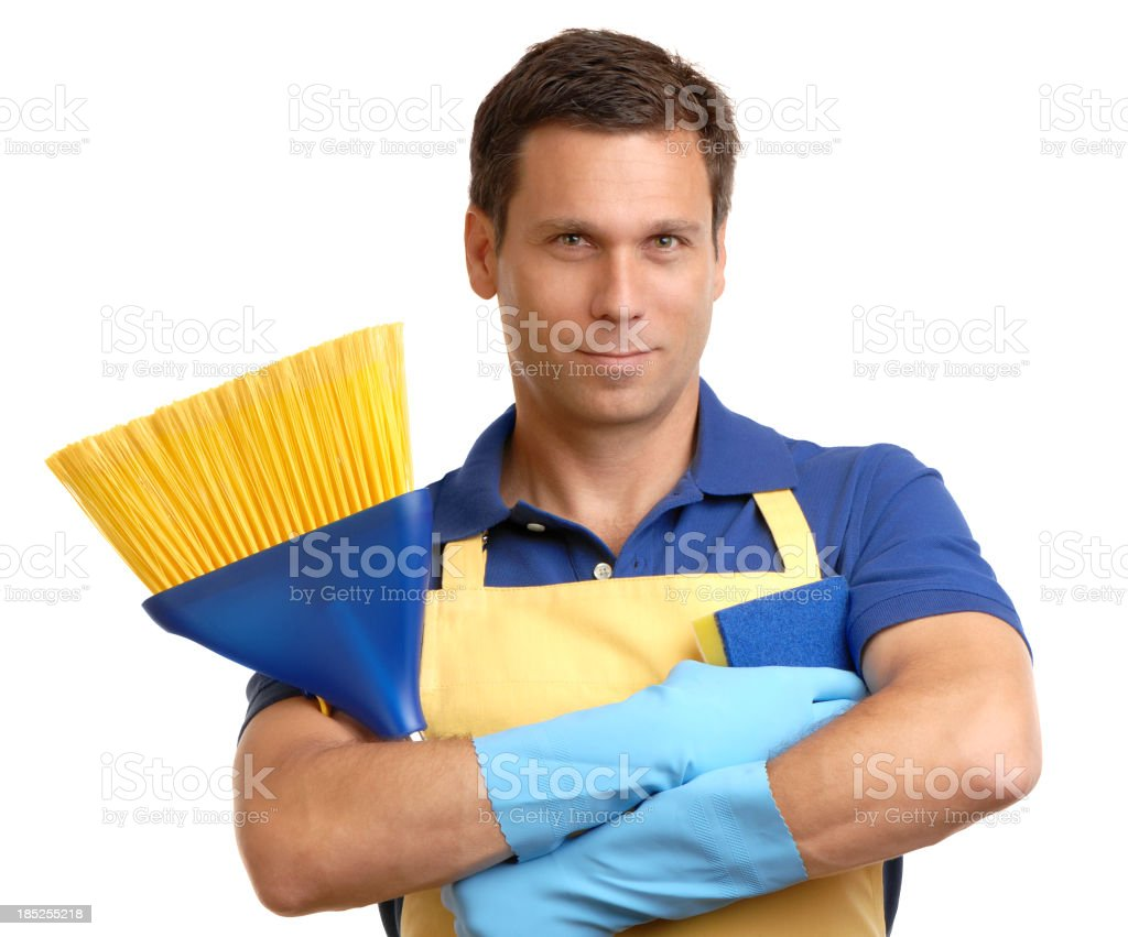 White rubber apron - Man In Apron Rubber Gloves Broom And Sponge On White Royalty Free Stock Photo
