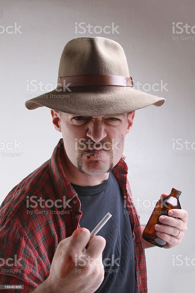 Man in bar fight royalty-free stock photo
