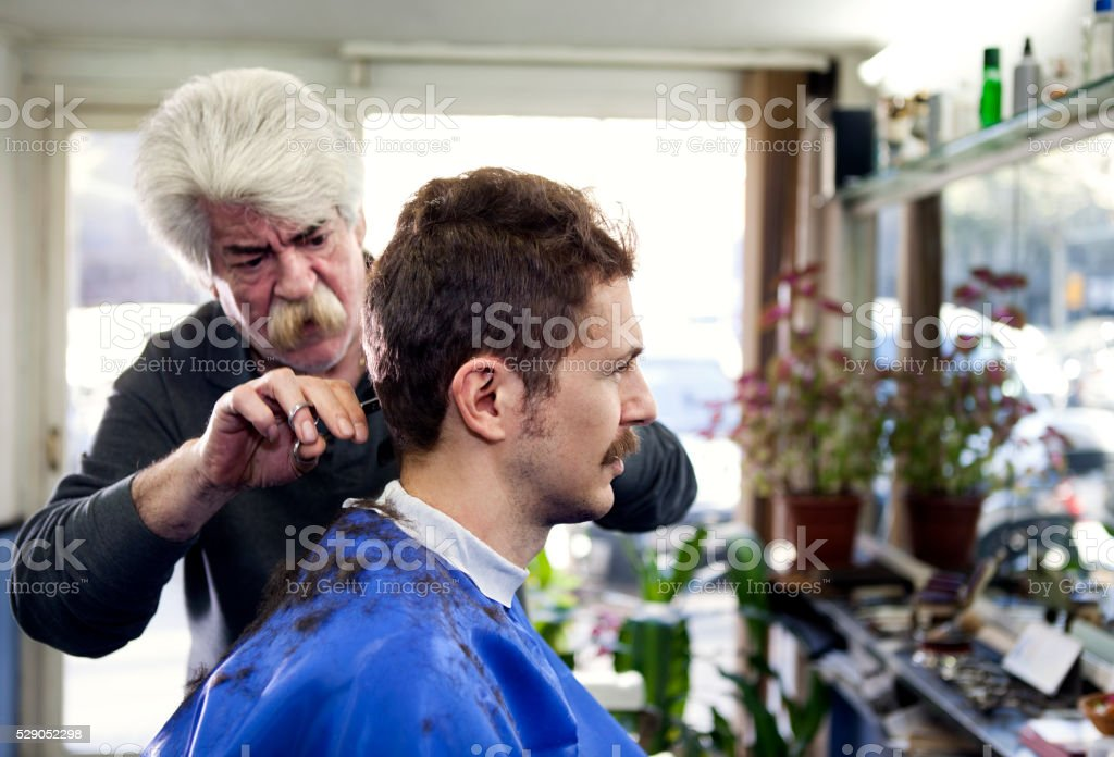 Man in barber shop stock photo