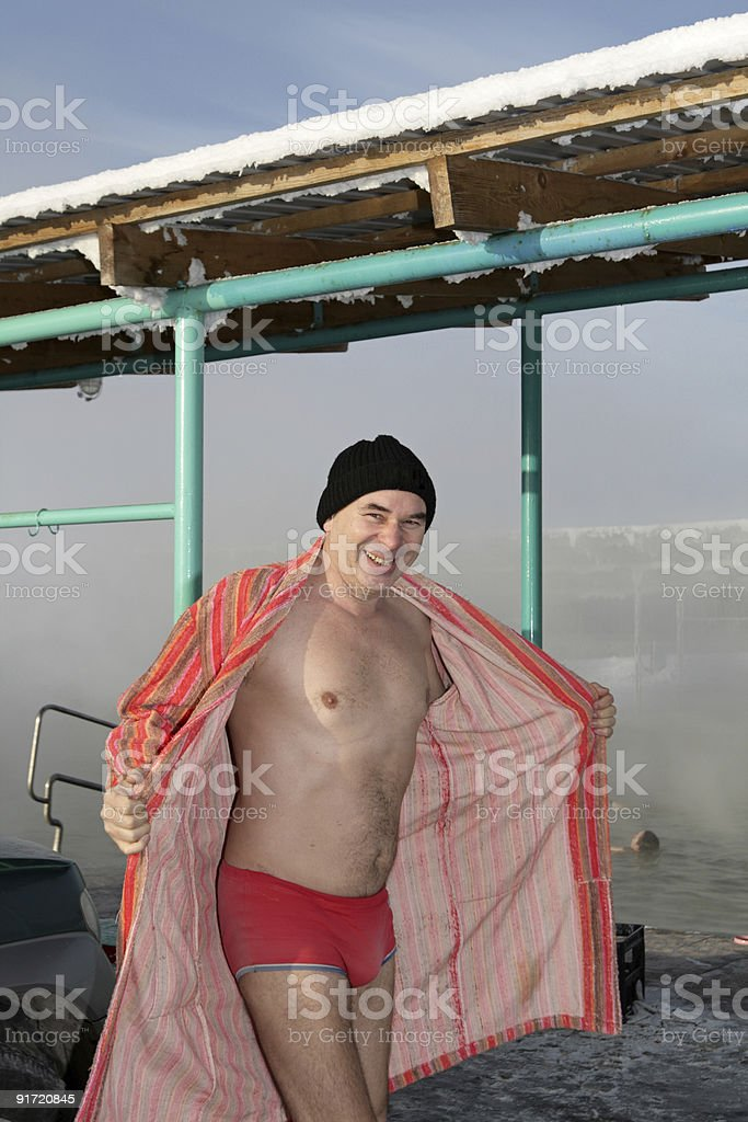Man in bathrobe royalty-free stock photo