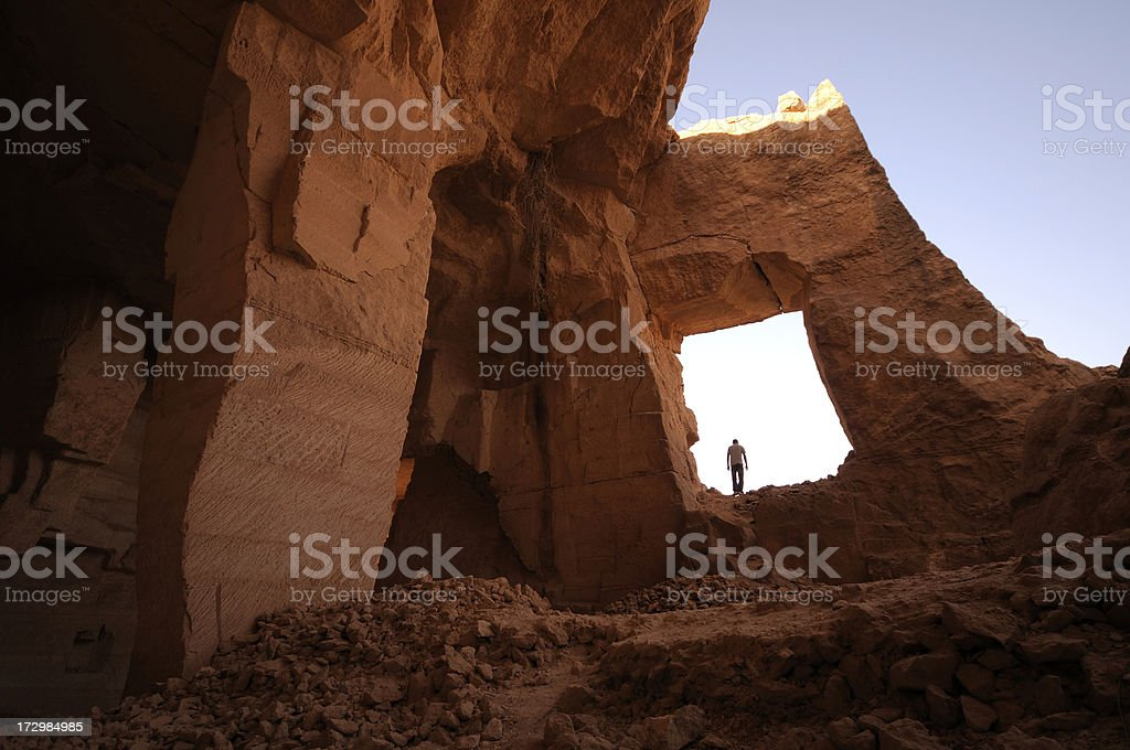 Man in Bazda Caves, Harran, Sanliurfa, Turkey royalty-free stock photo