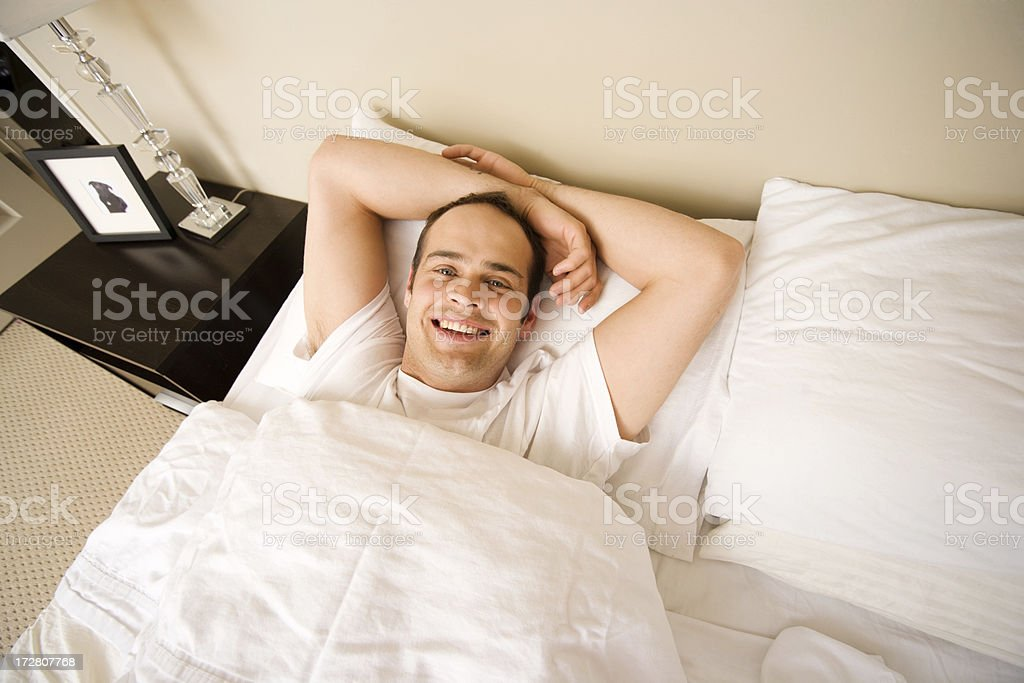 Man in Bed royalty-free stock photo