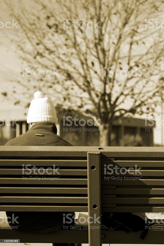 man in bench royalty-free stock photo