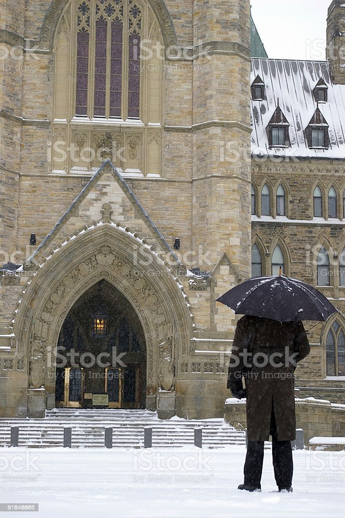 Man in black at Parliament Hill royalty-free stock photo