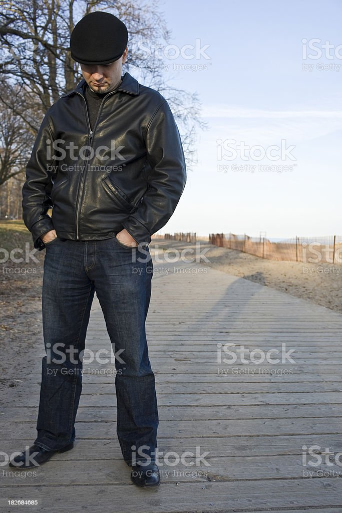 Man in Black Leather Jacket royalty-free stock photo