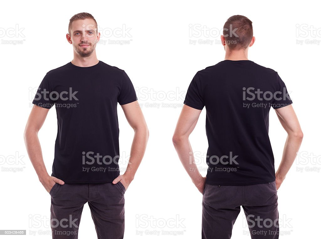 Man in black t-shirt stock photo