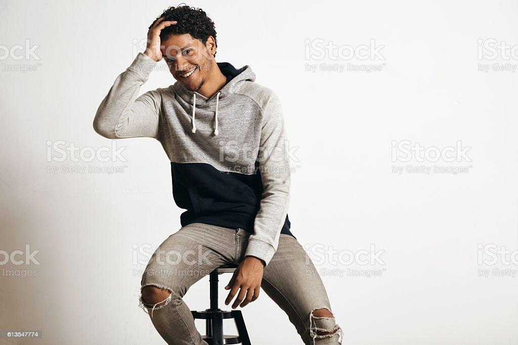 Man in blank heather gray clotching mockup set stock photo