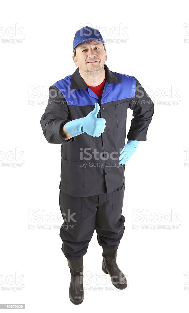Man in blue gloves show thumb up. royalty-free stock photo