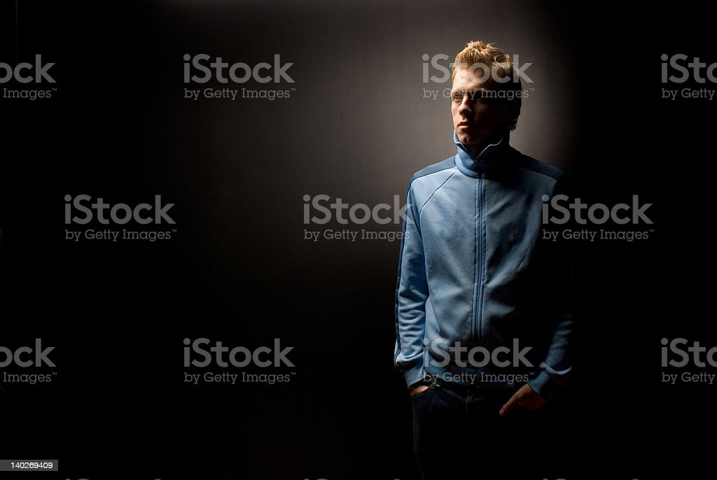 Man in blue jacket royalty-free stock photo