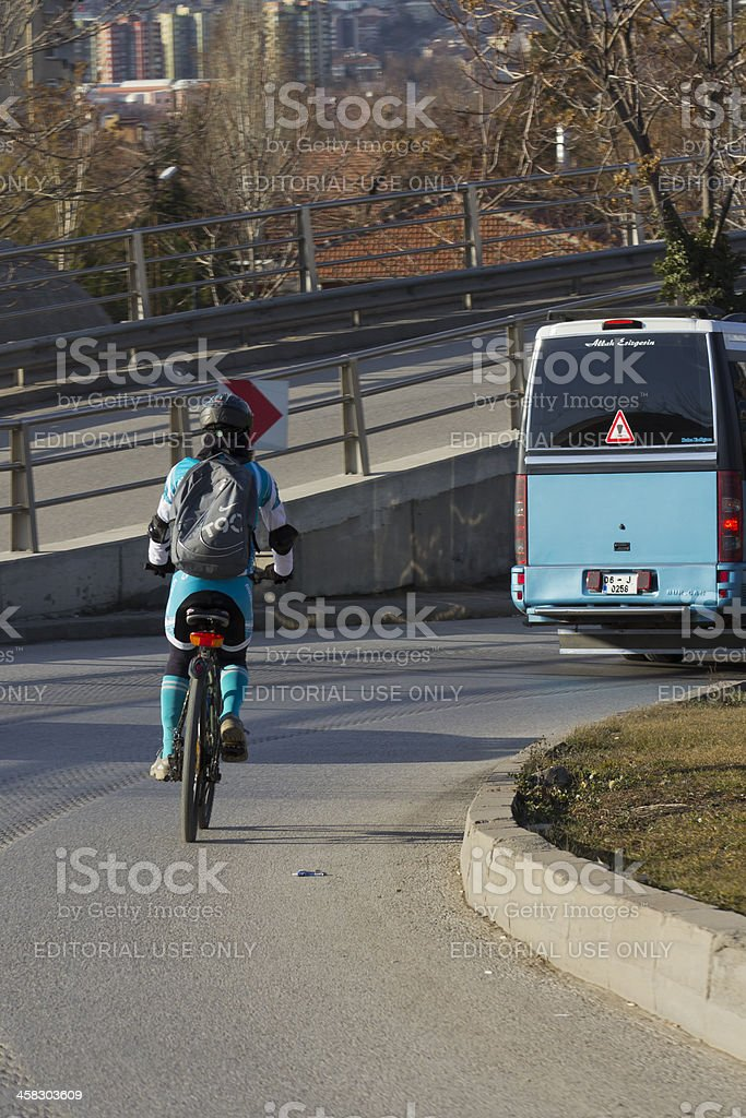 Man in Blue riding Bicycle royalty-free stock photo