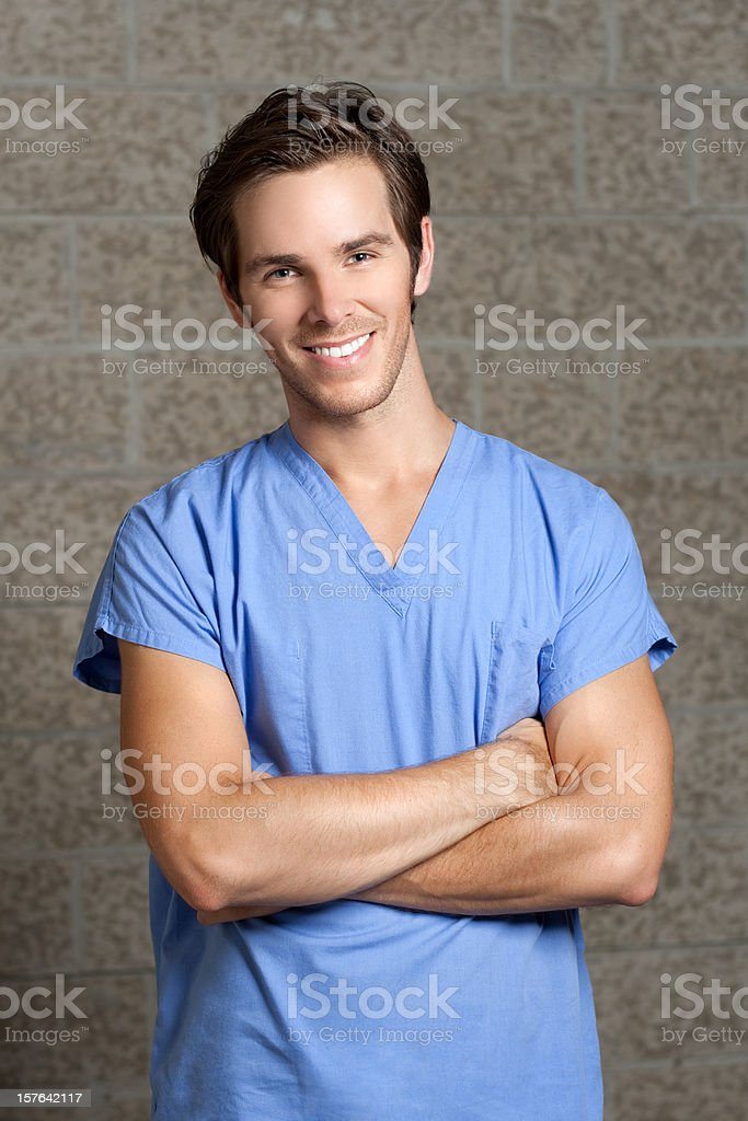 Man in Blue Scrubs stock photo