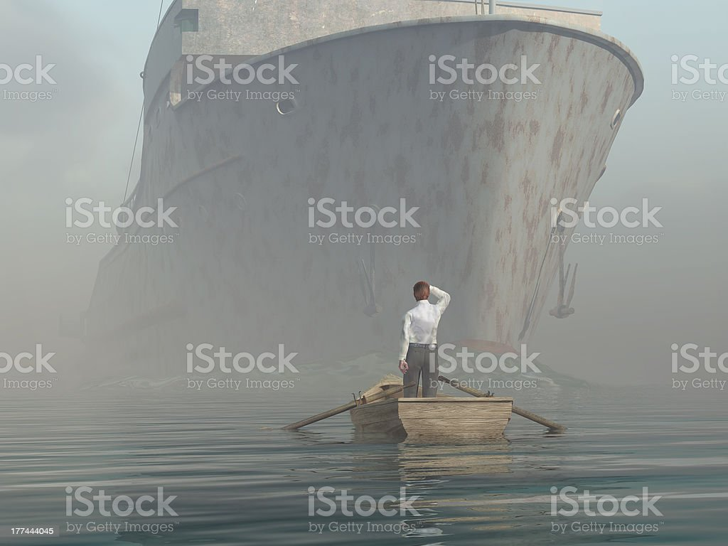 man in boat looking on approaching vessel stock photo