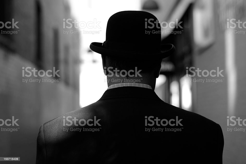Man in Bowler Hat stock photo