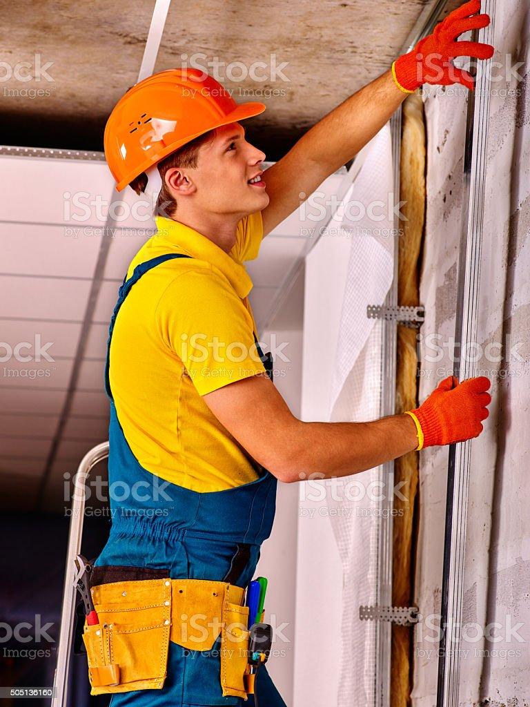 Man in builder uniform stock photo