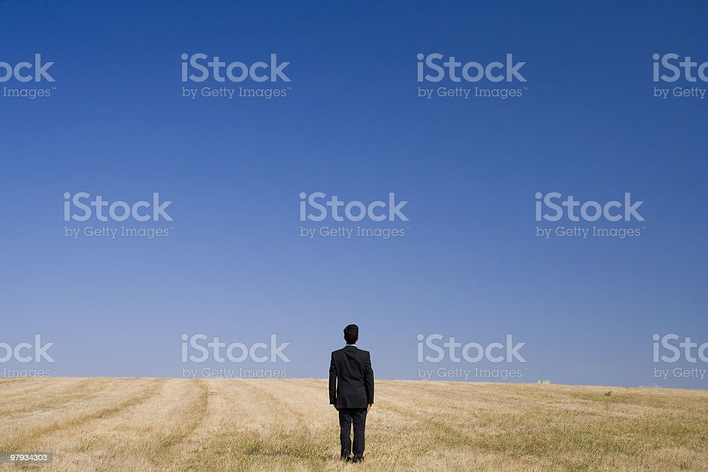 Man in business suit standing alone in a field royalty-free stock photo