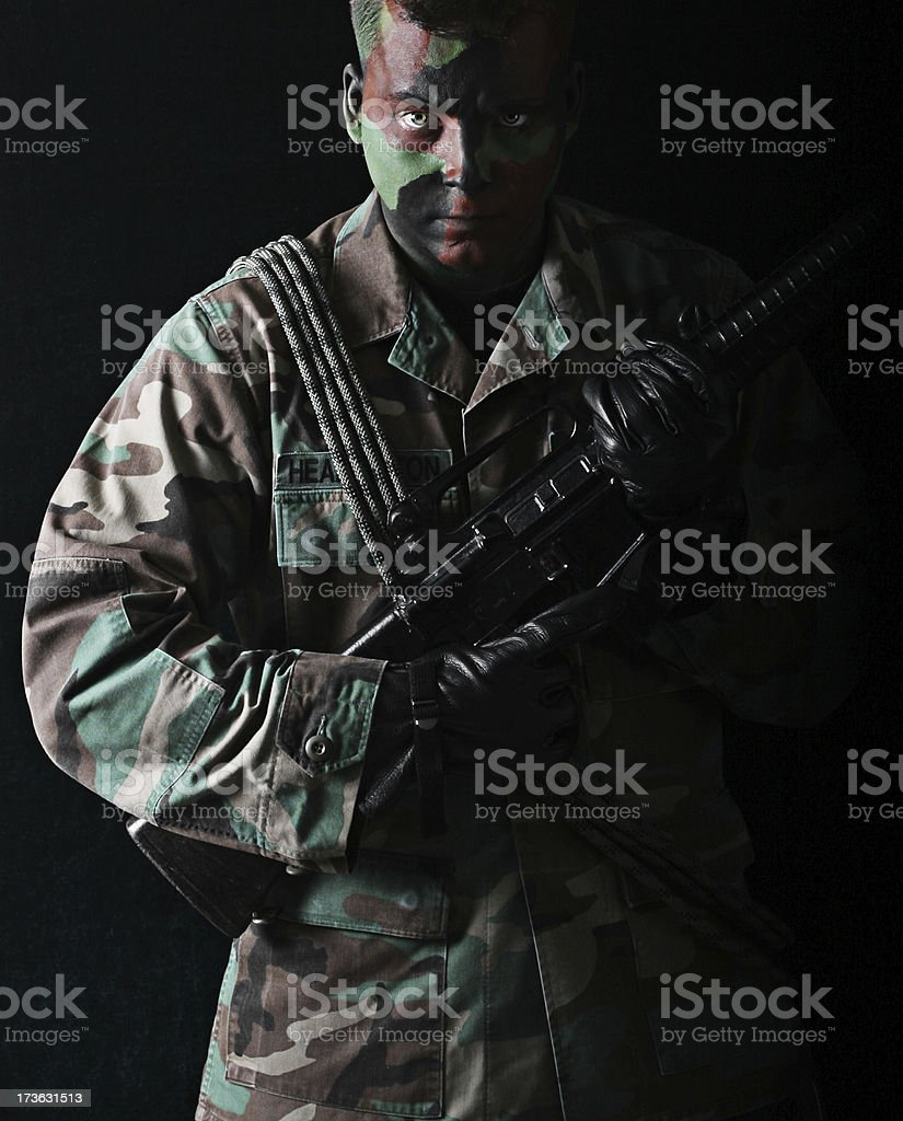Man in Camouflage stock photo