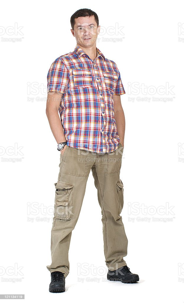 Man in cargo pants isolated on white stock photo